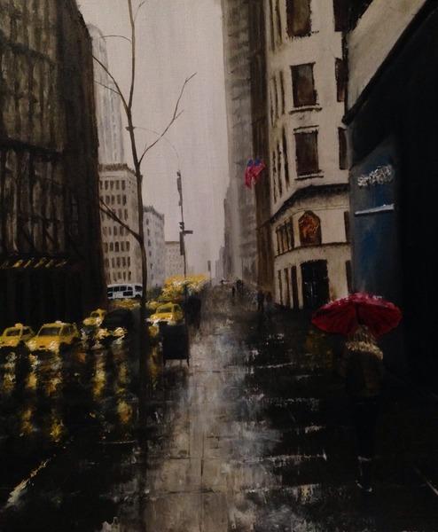 雨 ニューヨークの路地