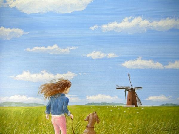 風車のある高原牧場