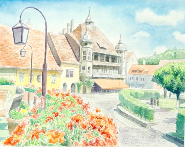 花咲く街並み