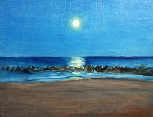 海岸の満月