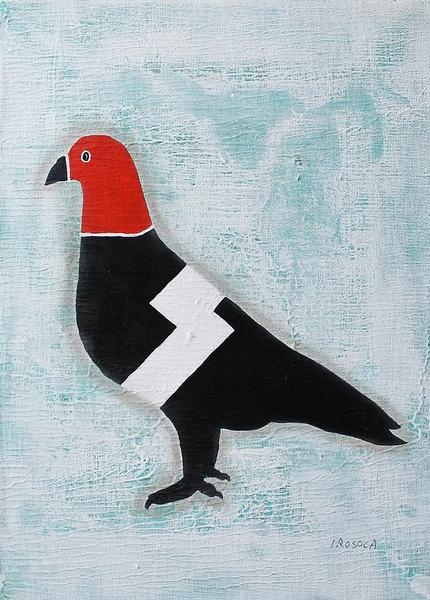 目出し帽のハト(赤色)