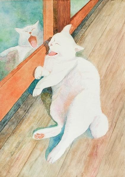 縁側の白猫