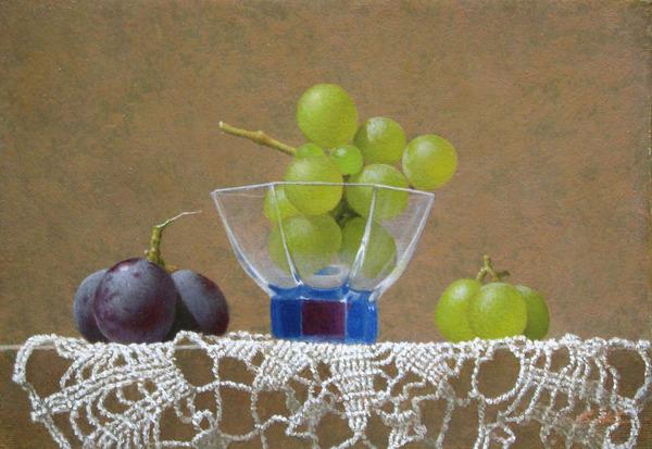 葡萄とグラスのある静物-b27