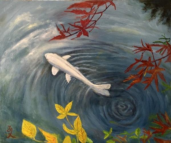 白鯉と紅葉
