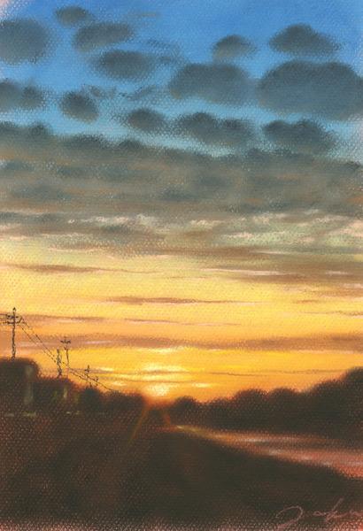 河のある風景・夕日2