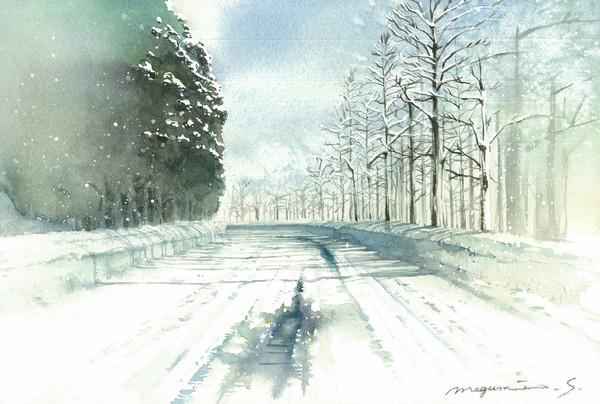 早朝の雪道・白馬村