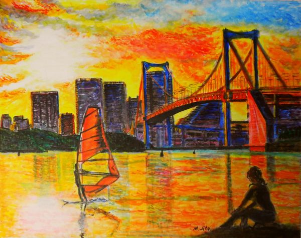 夕陽に紅い帆