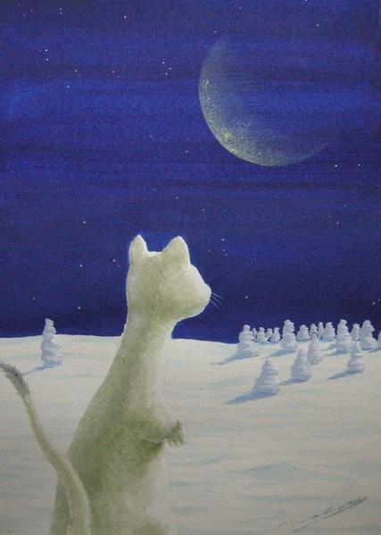 月と雪オコジョ