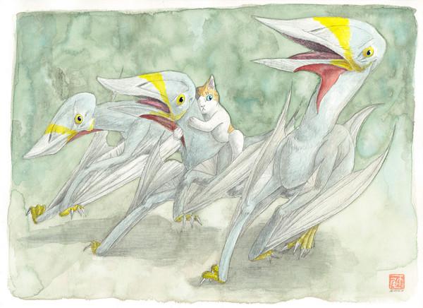 空想/幻想画「チャオヤンゴプテルスと猫」[雨尾 きょうすけ] | ART-Meter