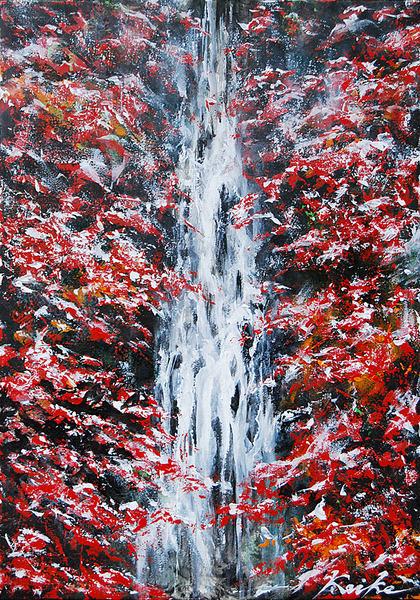 晩秋の滝の初雪