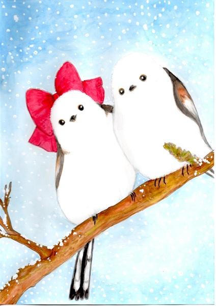 シマエナガ雪の日のデート