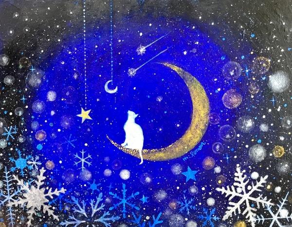 三日月と猫~雪の結晶~