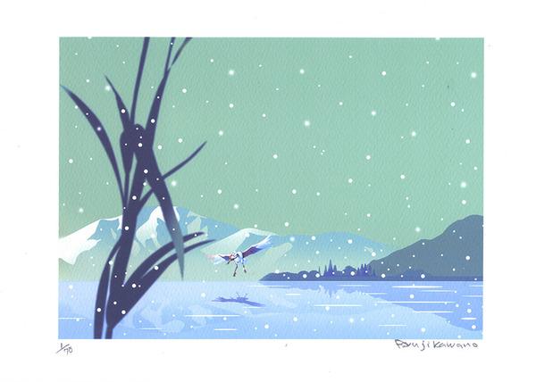 2月の雪の,凍てつく湖面(1/70)