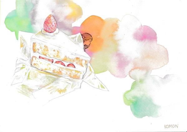 ケーキからひょっこり