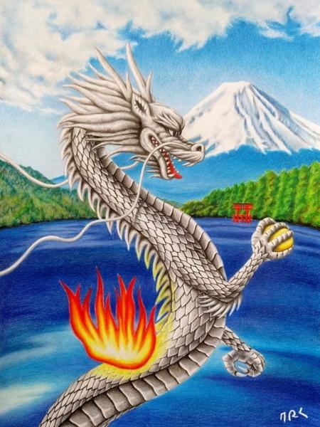 生龍 銀の龍と白銀の富士