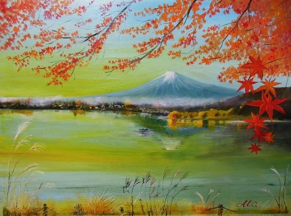 紅葉の湖水