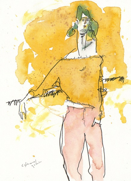 黄色いセーターの女