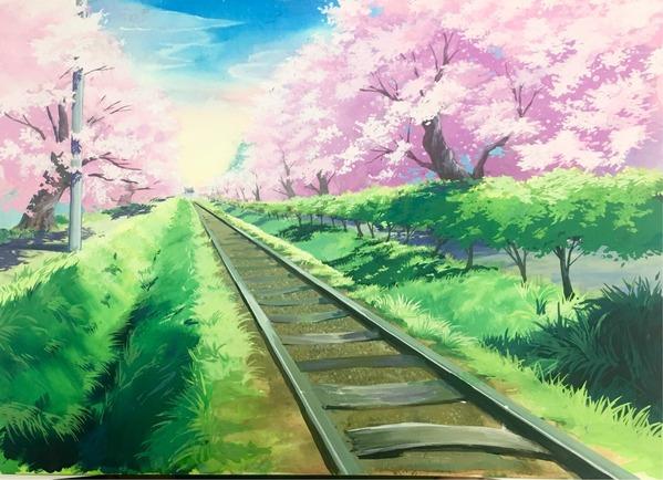 桜と線路のある風景