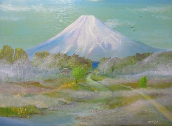 靄の富士山