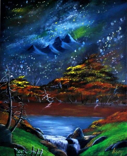 宇宙・・・紅葉の山