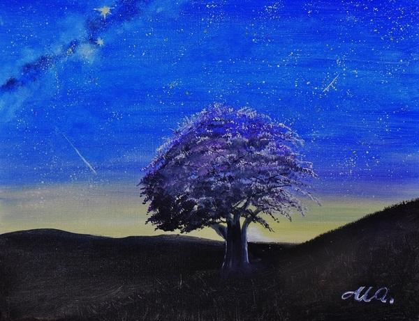 星空と夜桜