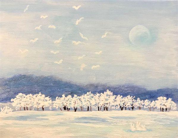 月の残る雪原