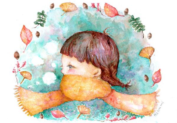 秋の森と黄色いマフラーの女の子