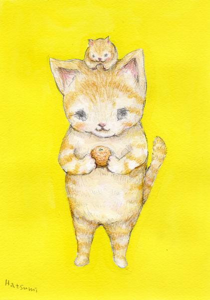 茶トラ猫とハムスター