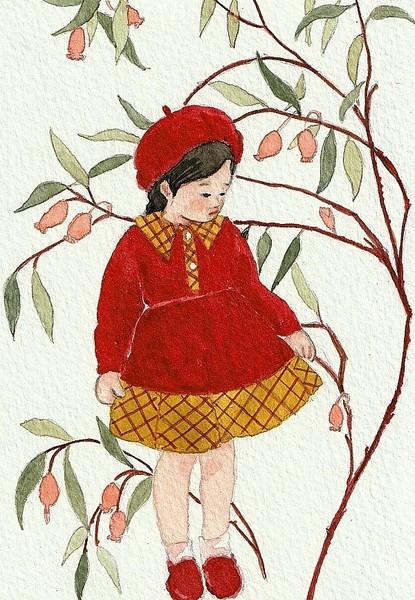 可愛い女の子・秋の花