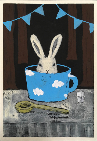 カップに入ったウサギ