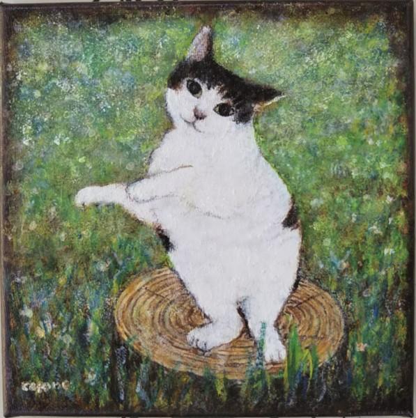 切り株の上で立っている猫