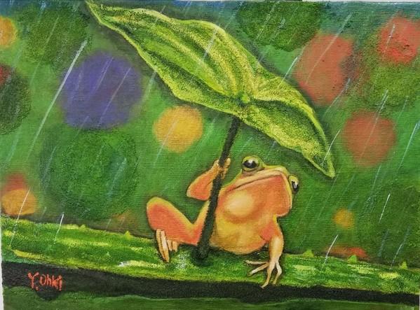 カエルの雨宿り