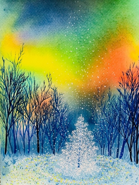 オーロラの夜のツリー