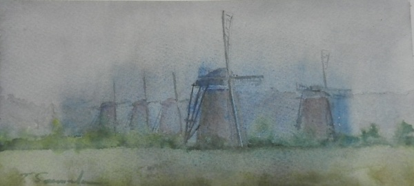 朝靄の風車