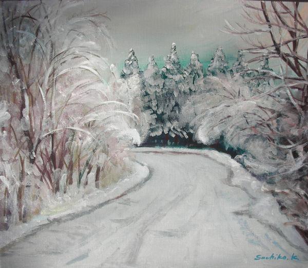 高原の雪道