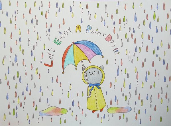 雨の日も。