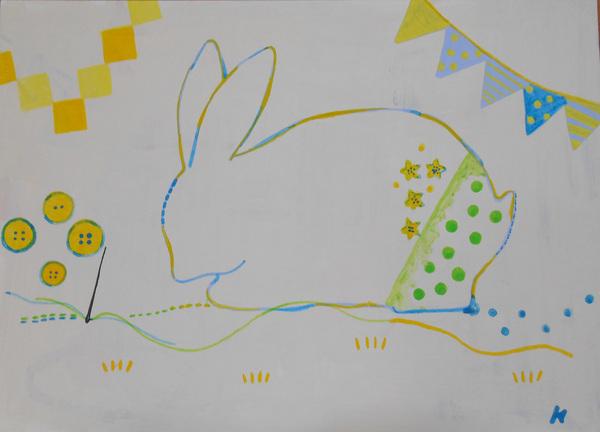 刺繍 ウサギ