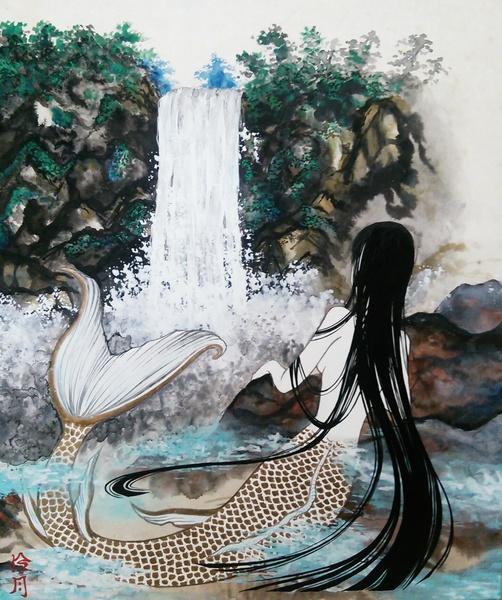 滝を眺める日本人魚