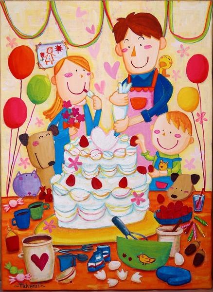ママへ、パパと作る大きなケーキ