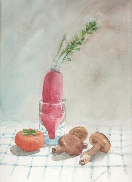 サラダ大根と柿と椎茸