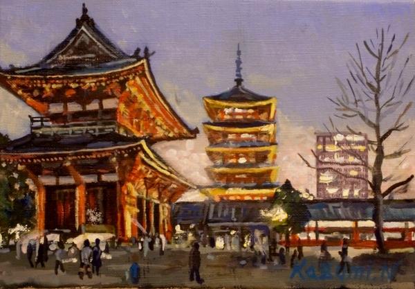 夕暮れの浅草寺2