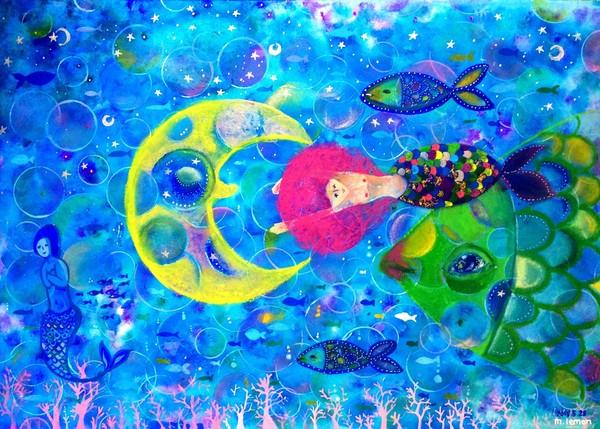 月夜の海宝石