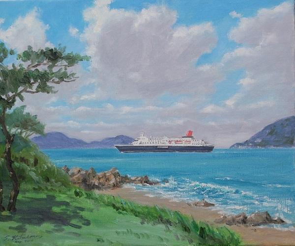 志賀島の沖を行くにっぽん丸
