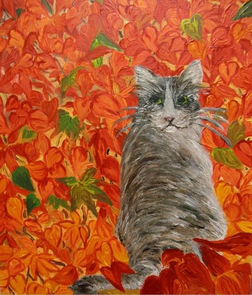 蔦紅葉と猫