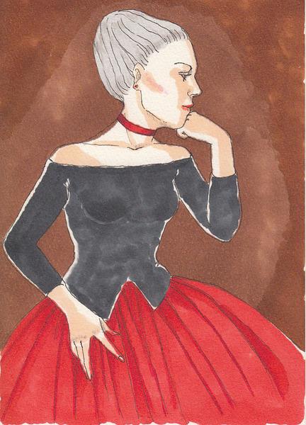 赤いスカートの女